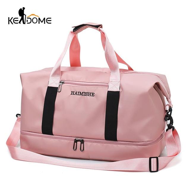 5754ec3356c 2019 Travel Luggage Bag Waterproof Nylon Sports Bag Lady Duffel Gym Bags  Handbags Women Yoga Mat Swimming Bag PINK Big XA828WD