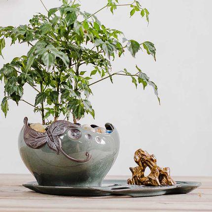 Pots de fleurs en céramique européenne Spot en gros personnalité créative bureau intérieur bonsaï avec plateau vert plante Art pot de fleur
