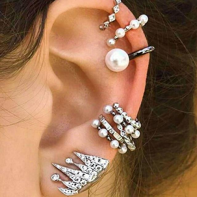 9PCS Boho Ear Cuff Brincos Simulated Pearl Ear Clip Earrings Set Women  Statement Bohemia Crystal Ear Cartilag Earrings Jewelry b5d31e90f8a1