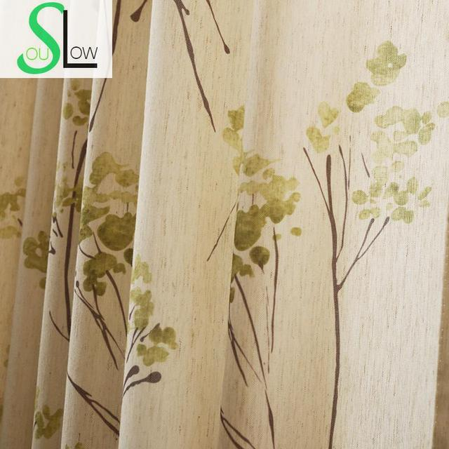 Slow Soul American Pastoral Linen Cotton Fabric Curtain Embroidered Leaves  Curtains For Living Room Kitchen Bedroom