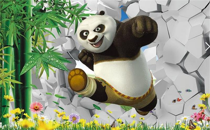Us 141 53 Offcustom Photo 3d Wallpaper Non Woven Mural Picture Wall Sticker Cute Kung Fu Panda 3d Painting Modern Flower Wallpaper In Wallpapers