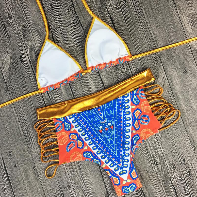 2017 South African golden halter bikini Set high waist swimsuit two pieces swimwear women bathing suit bather maillot de bain 16