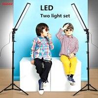 Светодио дный свет студийный комплект Softbox 2 лампы установить фотографической лампы в живую ещё съемки приглушить Лампа, освещение для фото