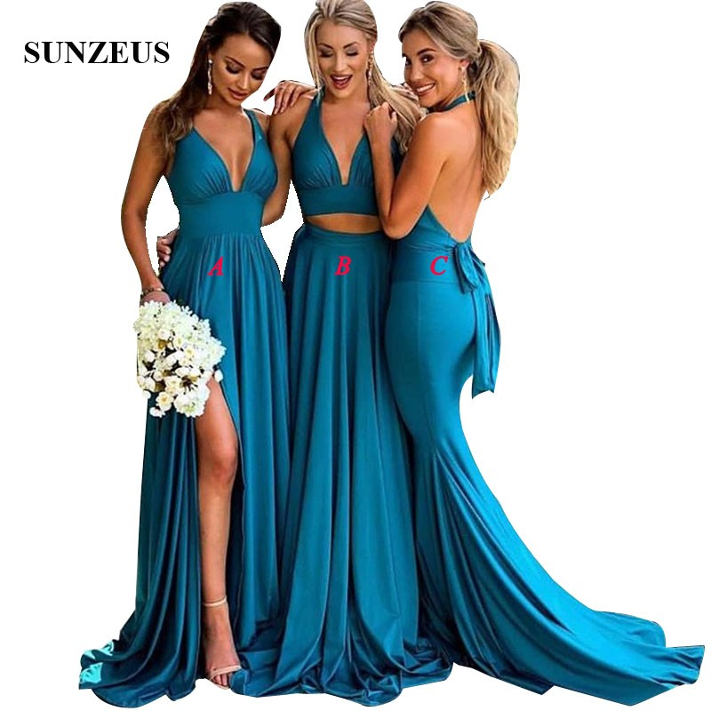 Sexy Two Piece Bridesmaid Dresses 2018 Long Blue Jersey