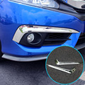 FIT FOR 2016 2017 HONDA CIVIC CHROME FRONT FOG HEAD LIGHT LAMP COVER TRIM BUMPER HOOD SKIRT BEZEL STRIP LIP MOLDING GARNISH