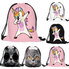 Kids Boys Girls Character Swimming Bags Animal Pattern Unicorn String Gym Bags Sports School Drawstring Pump Bags Hot Wholesales