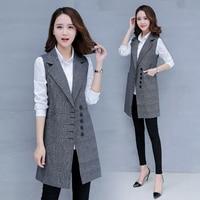 Women's Spring Autumn Sleeveless Blazer lattice Vest Long Vest Waistcoat Female Women Outwear Jacket Pocket Coat Black/gray
