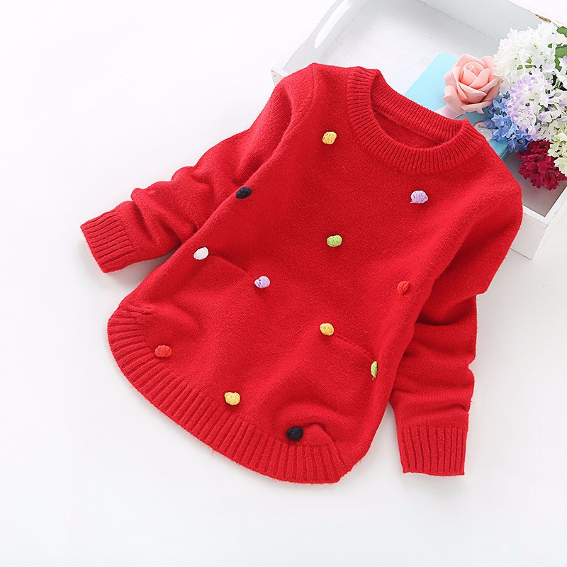 Baby Kid Girls Boys Knitted Thick Sweater Tops Pullover Fur Lined Long Sleeve Outfits Button Decorate Sweatershirt Cloth
