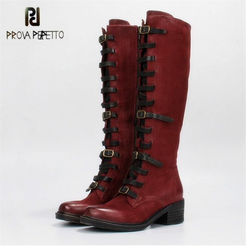Prova Perfetto Fashion Women Knee High Boots Retro Martin Boot Femal Autumn Winter High Boots Straps Platform Rubber Shoes Woman prova perfetto black handmade women genuine leather mid calf boots buckle straps martin boots women platform rubber shoes woman