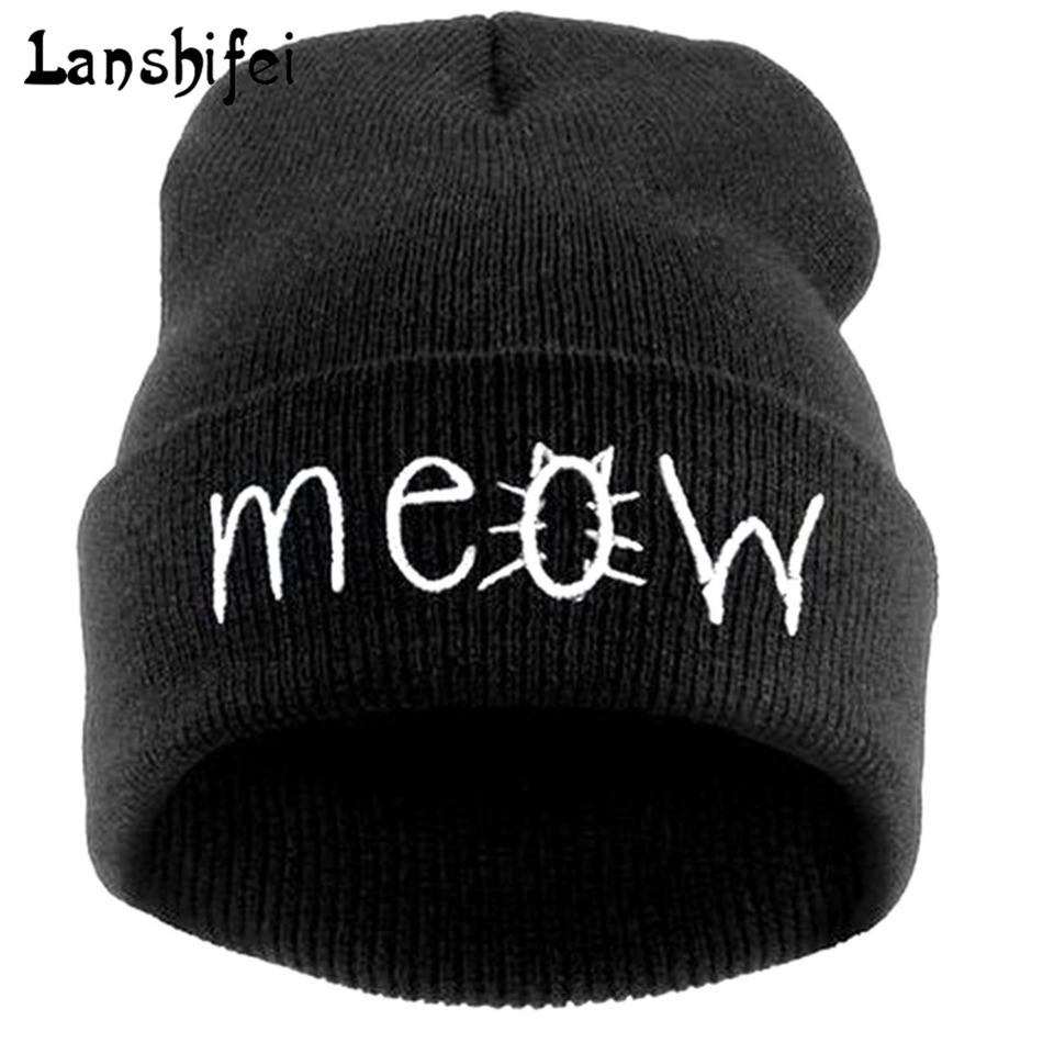 Fashion MEOW Cap Men Casual Hip-Hop Hats Knitted Wool Skullies Beanie Hat Warm Winter Hat for Women Drop Shipping  new fashion winter cap for women knitted cap wool pure color hat men casual hip hop hats beanie warm hat warm hat plus size lb