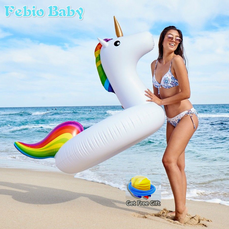 Summer Inflatable Ride-ons Life Buoy Unicorn Bath Water Toy Pool Rafts For Children & Adult Swimming Ring Tool Free Pump Gift