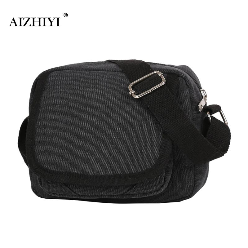 Men Retro Bags Canvas Travel Solid Zipper