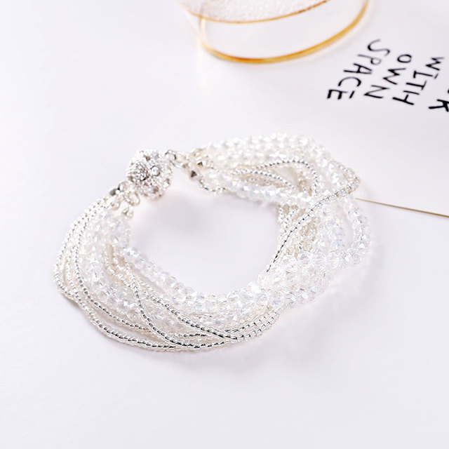 Hot multi-layer Elastische Armbanden & Bangles Zwart Zilver Kleur Discobal Armband Magnetische Snap Pulseira Femininas geschenken