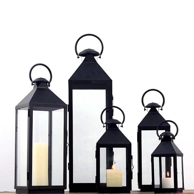 Wrought Iron Glass Vintage Large Floor Windproof Lanterns