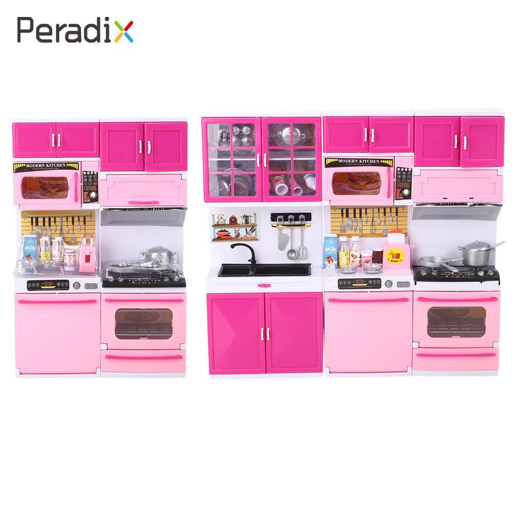 Cooking Playset DIY Kitchen Pretend Kitchen Toys Kids Cooking Food Mini Light Up Educational 1 Set Furniture Flashing Cookware
