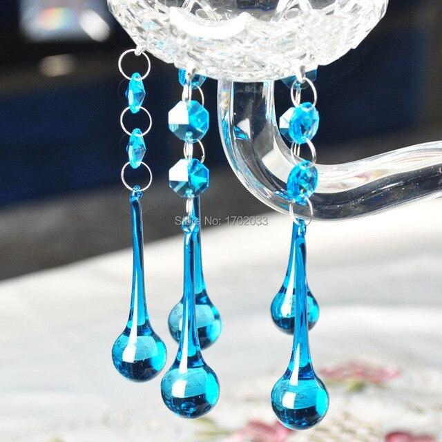 Pièces de lustre de bricolage, verre de cristal bleu ciel prisme de chute deau octogone pièces de lustre décoration déclairage de mariage 20*80mm