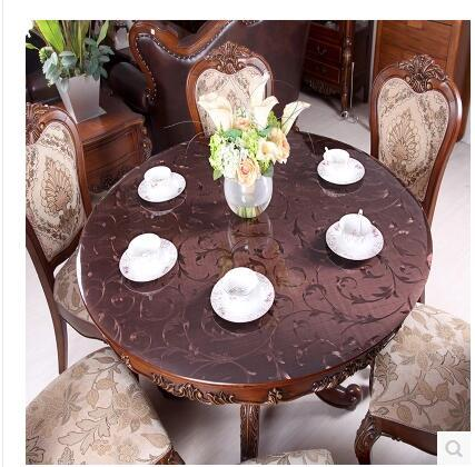 PASAYIONE Soft Glass PVC Round Tablecloth Waterproof Oilproof Disposable Table Cloth Home Kitchen Dining Room Placemat Pad 1mm