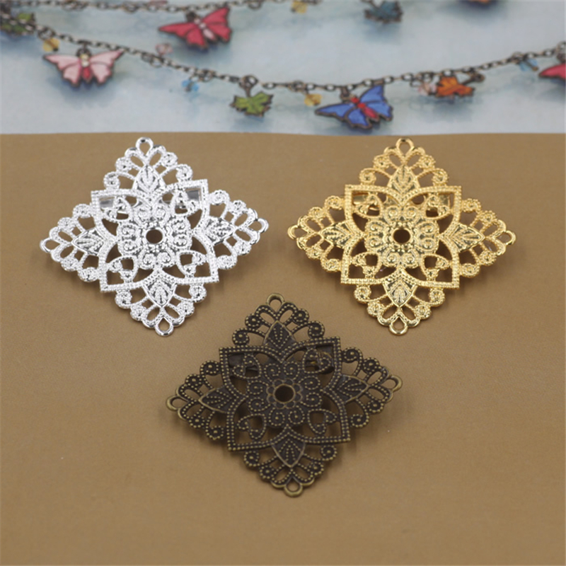 30mm Filigree Hollow Out Flower Brooch Base Setting Jewelry Accessories Vintage Antique Bronze Plated DIY Components