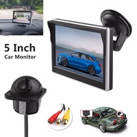 Brand New Car Monitors 5 Inch TFT LCD Digital Car Rear View Monitor LCD Display with Front Diaphragm + 420 TV Lines Camera