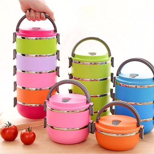 5 Colors Solid Round Bento Box Bowls Hot Sale Thermal Insulation Stainless Steel Boxes Student