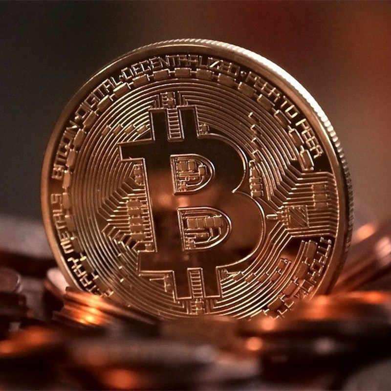 Placcato Oro Bitcoin Moneta da Collezione Regalo Collezione D'arte Fisica Commemorativa Casascius Bit Btc in Metallo Imitazione Antico