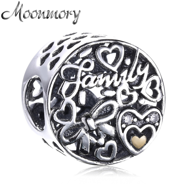 db27bfa20 Moonmory Love Family Heart 925 Sterling Silver Charm Fit Pandora Bracelet  Snake Chain DIY Jewelry Accessory 2017 Autumn Bead