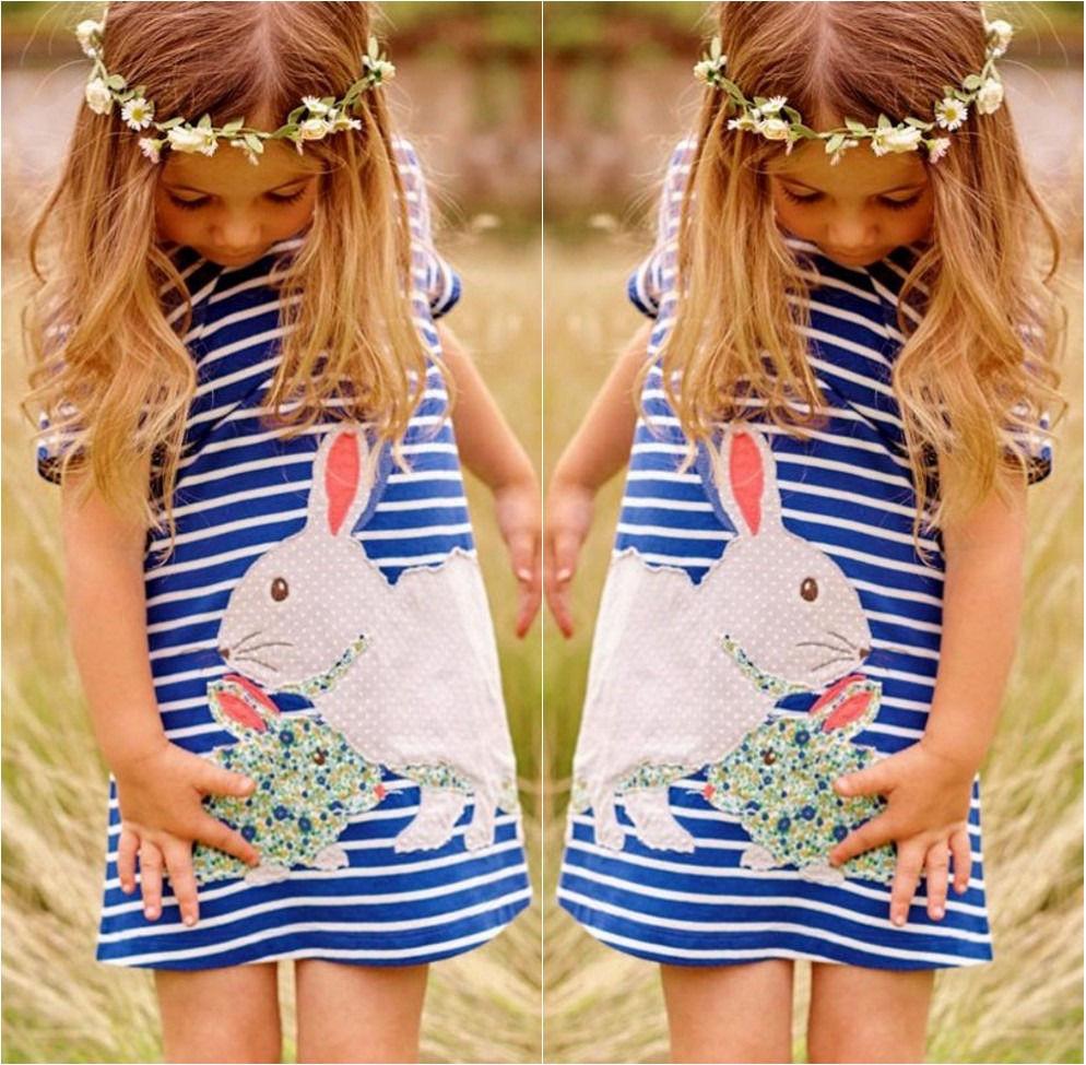 2017 Streifen Mädchen Drees 3 4 5 7 8 Jahre Mädchen Baumwolle Marke Printed Kaninchen Sommer Mädchen Kleid Kleider Für Mädchen Komplette Artikelauswahl