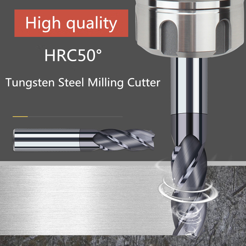 ZGT Milling Cutter Metal Cutter HRC50 4 Flute Endmill Cnc Tools Alloy Carbide Milling Tungsten Steel Milling Cutter End Mill 8mm