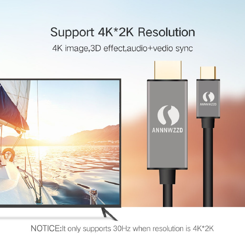 USB C HDMI Cable Type C to HDMI Converter 4K 60Hz 1.8M for MacBook Samsung Galaxy S9/S8/Note 9 Huawei P20 Pro USB-C HDMI Adapter