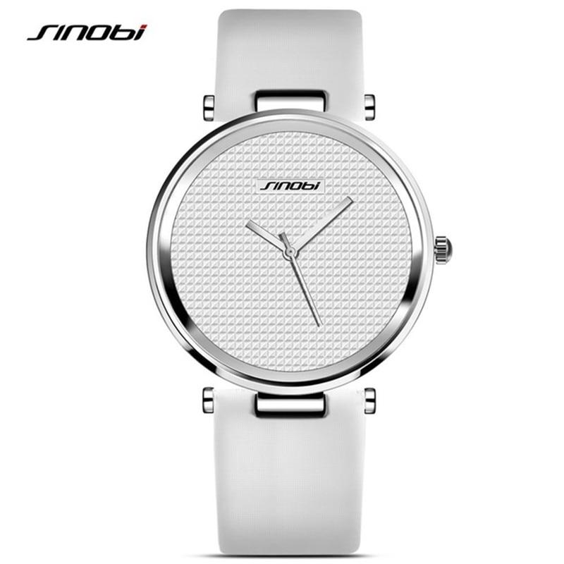SINOBI font b Fashion b font Black Womens Wrist Watches Leather Watchband Luxury Brand Simple Ladies