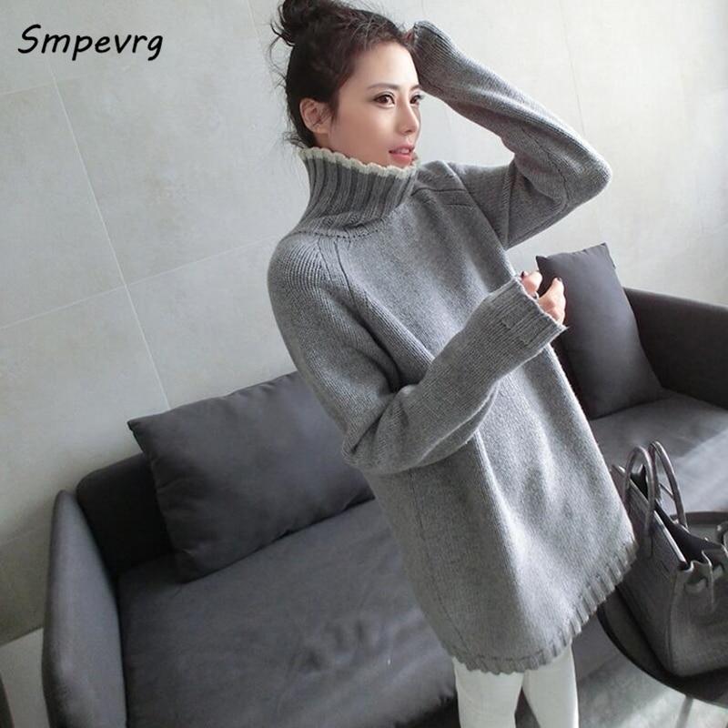 Smpevrg rudens ziemas gadījuma ilgi kašmira sieviešu džemperis modes pilnā piedurknēm bruņurupuča adīta džemperi cieti vaļīgi biezi trikotāžas