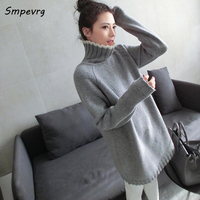 Smpevrg autumn winter casual long cashmere women sweater fashion full sleeve turtleneck knit pullovers solid loose thick knitted