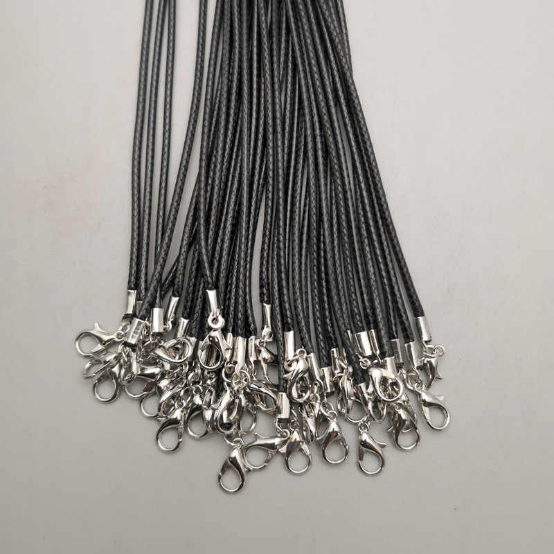Wholesale 2MM jewelry clasp lobster clasp Necklace Rope wax Leather Cord  black necklace lanyard pendant cords 50pcs/lot Free