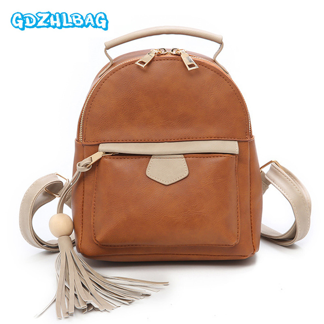 41ba3f828f GDZHLBAG 2018 Tassel Women Leather Mini Backpack Teenage Backpacks for Girls  Vintage Feminine Backpack Sac A Dos Femme B250