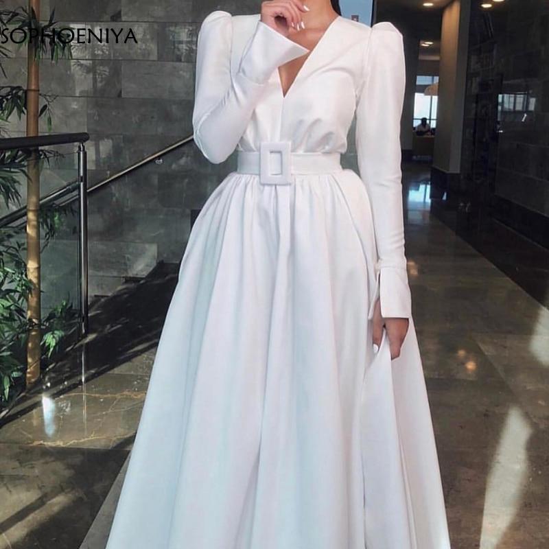 New Arrival V Neck Long sleeve   evening     dresses   Satin White Simple   evening   gowns A-Line long   dress   2019 muslim   evening     dress