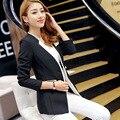 S-2XL Mulheres Magro Entalhado Blazers E Jaquetas 2016 Moda Branco Preto Elegante Patchwork Mulheres Blazers feminino A0083