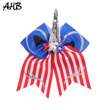AHB 4th of July 7 Striped Large Hair Bows with Clip for Girls Cheer Sequin Horn Cute Cat Style Party Accessories