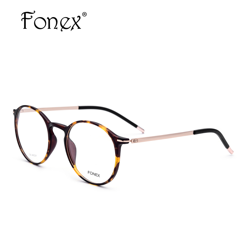 249ee0ee9e FONEX Haute Qualité Lunettes Rondes Cadre Hommes Femmes Vintage TR90  Lunettes de Prescription Myopie Optique Cadre ...
