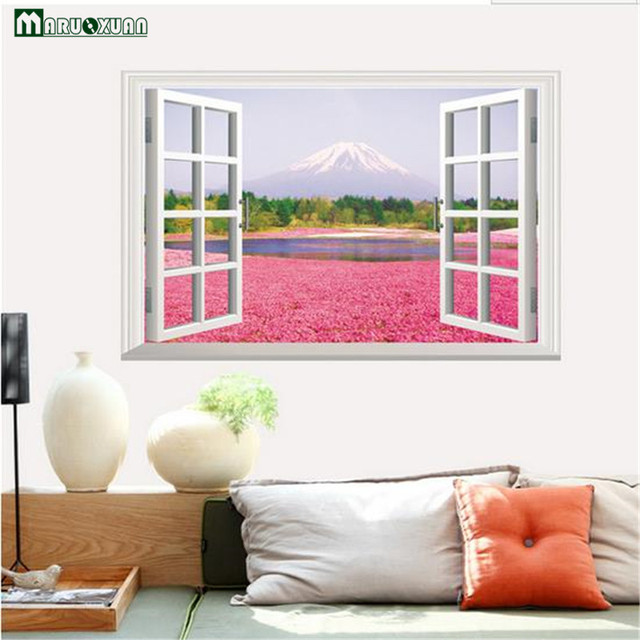 Maruoxuan 3d False Landscape Pink Flower Wall Stickers Pastoral Sofa ...