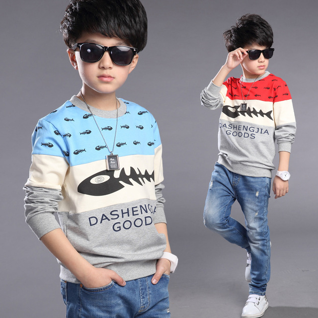 3-15 children T-shirt boy runing T-shirt cotton coat boys clothes