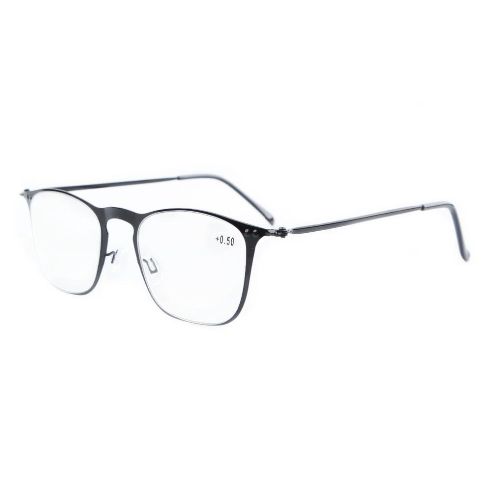r15018 eyekepper readers retro stainless steel frame square reading glasses 050751