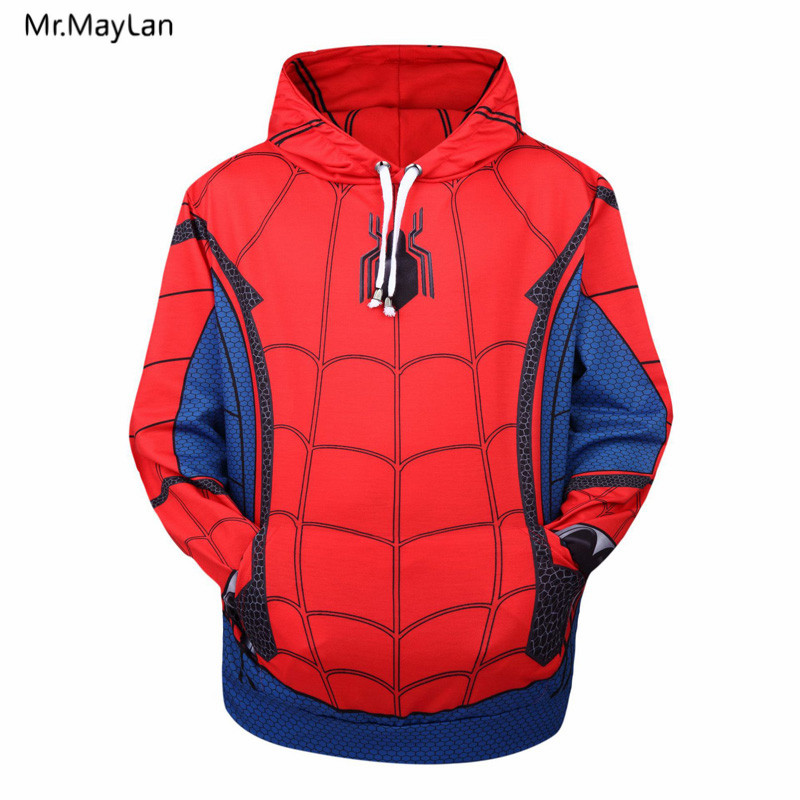 Movie Spiderman Print 3D Men Women Hoodies Sweatshirts Unisex Coats Hooded Jackets Spring Autumn Red Tracksuits Fashion Pullover