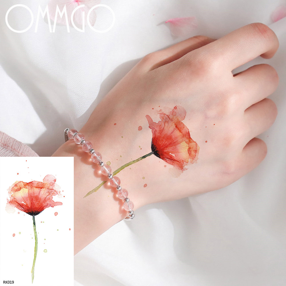 OMMGO Flower Sweet Peas Watercolor Temporary Tattoos Sticker Women Flora Leaf Custom Tatoto Fake Tatoos Body Art Arm Waterproof