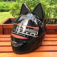 NITRINOS אישיות אוזן חתול נשים Moto קסדת קסדת אופנוע קסדת פנים מלאים קסדת מנוע 4 צבעים ורוד צהוב שחור לבן