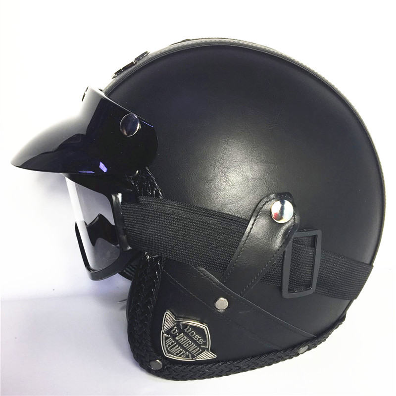 FREE SHIPPING red Adult Open Face Half Leather Helmet Harley Moto Motorcycle Helmet vintage Motorcycle Motorbike Vespa