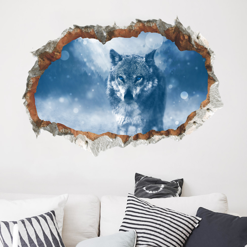 Fox broken wall stickers living room entrance restaurant wall creative self adhesive wall decorations wall stickers