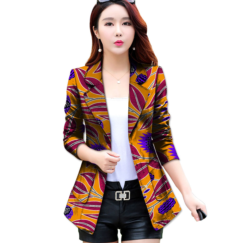 Fashion African Print Women Suit Jacket Africa Festive Ladies Long Sleeve Tailored Blazers ...