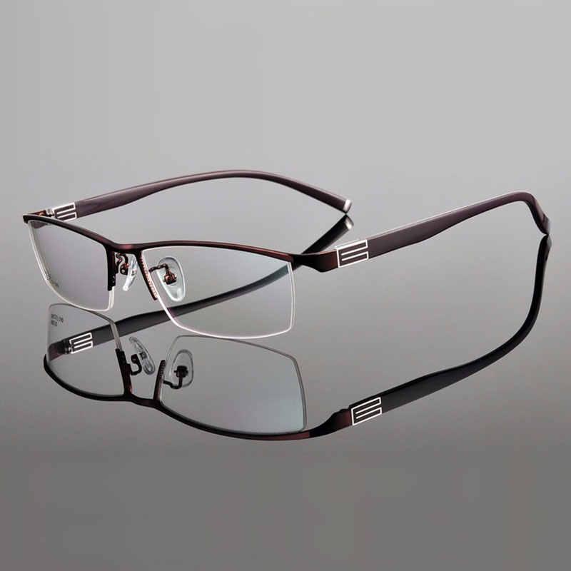 Reven Jate Liga de Titânio Frente Aro moldura Óculos com o Templo Flexível Braços Semi-Sem Aro Óculos de Armação com 3 Opcional cores