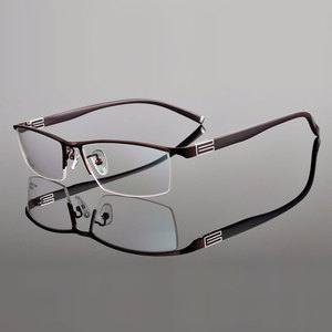 Image 4 - 유연한 템플 암이있는 reven jate 티타늄 합금 프론트 림 안경 프레임 3 가지 옵션 색상의 반 무테 안경 프레임