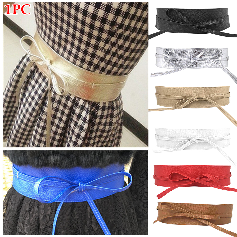 Party Simple High Waist Lace Up Slimming Corset Strap Sexy Wide Girdle Dress Decoration Women Belt Artificial PU Accessories